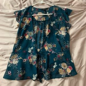 F21 Green Floral Wrap Top